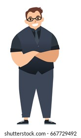 Handsome man in casual clothes. Cartoon character vector Illustration. Happy and stylish big guy.