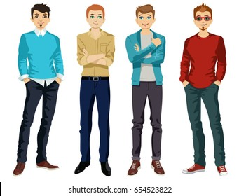 Handsome man dressed in modern male style, vector illustration. Set. Young handsome casually dressed hipster geek guy in jeans. vector illustration.