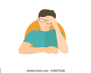 Handsome man in glasses depressed, sad, weak. Flat design icon. Boy with feeble depression emotion. Simply editable isolated on white vector sign
