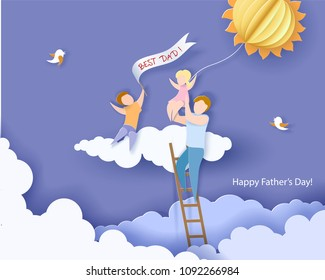 Handsome man with his children and color balloon on cloud. Happy fathers day card. Paper cut style. Vector illustration