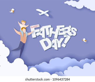 Handsome man with his son. Happy fathers day card. Paper cut style. Vector illustration