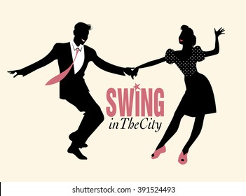 Handsome man and pinup girl dancing swing