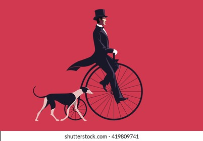 Handsome man riding a retro bike. Greyhound dog. Luxury life.
