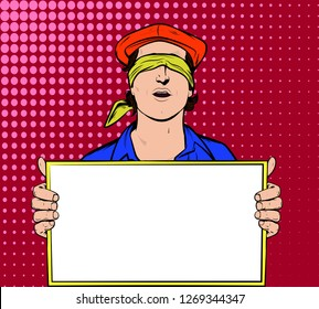 Handsome man with scarf covered on eyes holding empty, blank white board, sign or paper sheet.  Hide And Seek Eye Shade Blindfold Eye Mask Band Blinder. Vector Illustration In Retro Vintage Pop Art Co