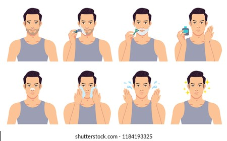 The handsome man shaved, cleansed and treated his face with various actions. Vector illustration set isolated on a white background.