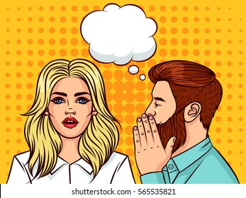 Handsome man wants to tell the secret  beautiful woman. Modern guy and girl of the European type with speech bubble on background of pop art style. Woman with shock emotion on her face