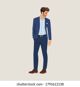 Handsome man wearing suit posing as a model