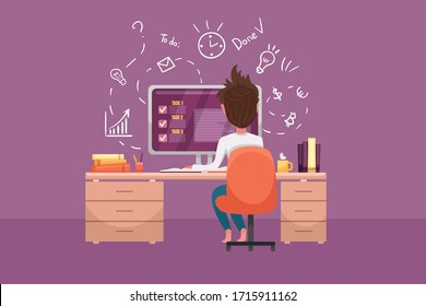 Handsome man is working at his laptop at home, online education or distance work. Modern interior with work process handdrawn icons on the background. Vector flat cartoon illustration.