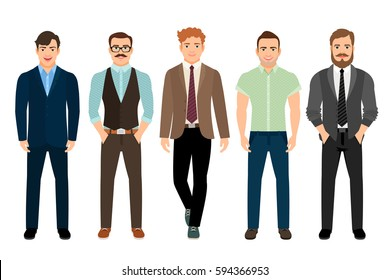 Handsome men dressed in business formal male style, vector illustration