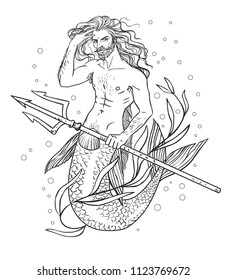 Handsome merman. Hand drawn vector illustration