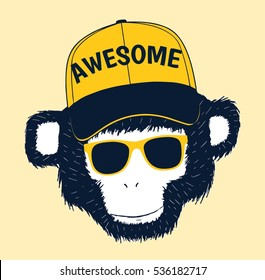 handsome monkey head drawing for baby tee print.Vector illustration kid's or baby's shirt