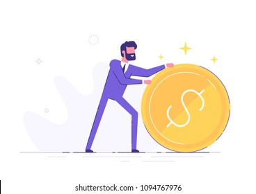 Handsome positive businessman is rolling a huge golden dollar coin. Earning, saving and investing money concept. Flat vector illustration.