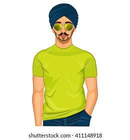Handsome punjabi sikh guy colorfull illustration