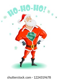 Handsome Santa Claus - Super Hero Isolated on White. Merry Christmas Greeting Card and Happy New Year Design. Vector illustration in EPS8