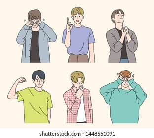 Handsome and stylish boy characters. The boys are taking various gestures. hand drawn style vector design illustrations.
