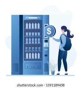 Handsome tourist backpacker using vending machine with drinks. Male character order and purchase beverages. Traveler holding big dollar coin. Trendy blue style design. Vector illustration