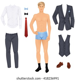 Handsome Young Blonde Man With Clothes Prom Or Wedding Suit Paper Doll Vector