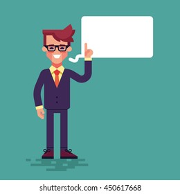 Handsome young businessman holding up his index finger and giving advice. Attractive manager speaking with speech bubble. Modern character design. Vector illustration in the flat style.