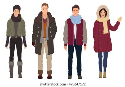 Handsome young guys with beautiful girls models in winter warm casual modern fashion clothes isolated. People couples