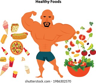 Handsome young man Beefcake and twelve supplements to build muscle the best info graphics.vector illustration