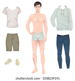 Handsome young man with casual clothes set, paper doll. Vector illustration.