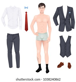 Handsome young man with clothes, prom or wedding suit, paper doll. Vector illustration.