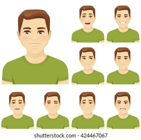 Handsome young man with different facial expressions set isolated