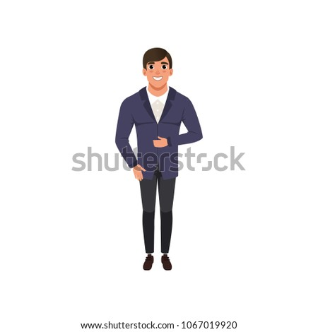 c227d92c3feb Handsome young man in fashion clothes vector Illustration on a white  background