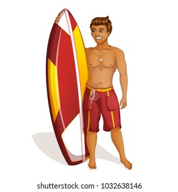 A handsome young man is holding a surfboard. Holidays in the Hawaiian Islands. Vector illustration. Funny character in the style of a cartoon.