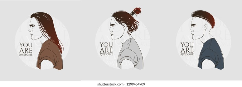 Handsome young man with long hair. Hipster hairstyle topknot . Vector fashion hand drawn illustration.