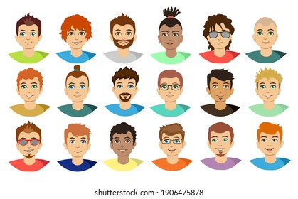 Handsome young man with various hair style and beard. Flat avatars set young guy portraits with beard or without vector cartoon illustration. Man face avatar set isolated on white background