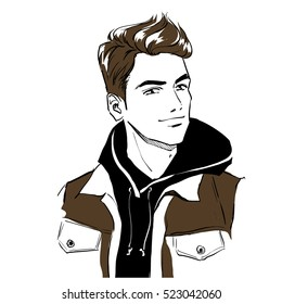 Handsome young stylish man in autumn clothes. He is wearing warm winter coat. Hand drawing vector illustration with black line art.