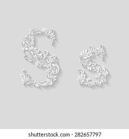 Handsomely decorated letter S in upper and lower case on gray
