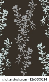 Hand-stamped vector plants on dark background. Texture background seamless repeat pattern. Vector illustration