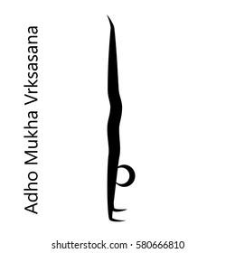 Handstand, Adho Mukha Vrksasana. Yoga Position. Vector Silhouette Illustration. Vector graphic design or logo element for spa center, studio, poster. Yoga retreat. Black. Isolated.