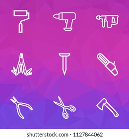 Handtools icons line style set with multi tool, scissors, hatchet and other tool elements. Isolated vector illustration handtools icons.