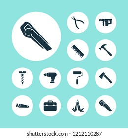 Handtools icons set with utility knife, clamp, drill and other repair elements. Isolated vector illustration handtools icons.