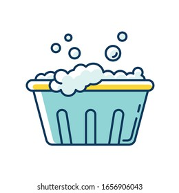 Handwash blue and yellow RGB color icon. Soaking laundry, wash basin with foam, hand washing. Delicate fabric wash, stain removal, garment care, housework. Isolated vector illustration