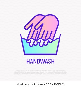 Handwash symbol: two hands in wash bowl. Thin line icon. Modern vector illustration.