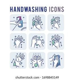 Handwashing Set Icons Thin Style Pictogram Minimalist Colored