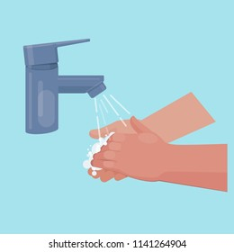 Handwashing with soap under the tap. Vector illustration on blue background