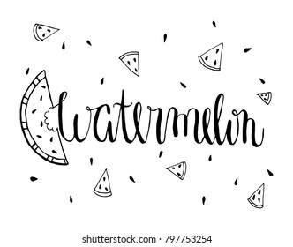 Handwrite Watermelon typography and watermelons on white background