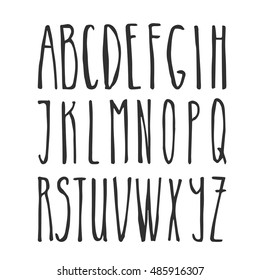 Handwriting Alphabet. Vector Hand Drawn Thin Font. Letters for design.