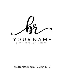 Handwriting B & R initial logo template vector