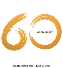 Handwriting - Brush paint celebrating, anniversary of number 60th year anniversary, Luxury duo tone gold brown for invitation card, backdrop, label or stationary