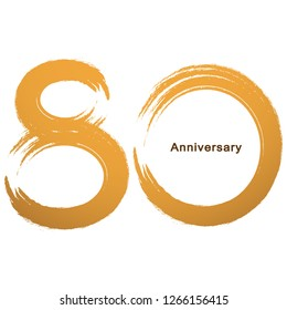 Handwriting - Brush paint celebrating, anniversary of number 80th year anniversary, Luxury duo tone gold brown for invitation card, backdrop, label or stationary