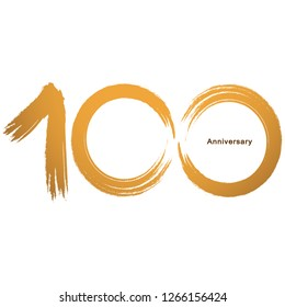 Handwriting - Brush paint celebrating, anniversary of number 100th year anniversary, Luxury duo tone gold brown for invitation card, backdrop, label or stationary