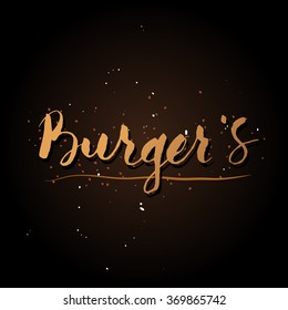 Handwriting Burgers logo with brush in modern calligraphy style.
