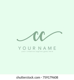 Handwriting C & C initial logo template vector