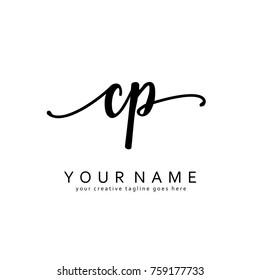 Handwriting C & P initial logo template vector